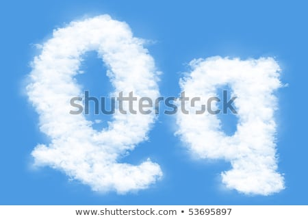 Letter Q cloud font symbol. White Alphabet sign on blue sky Stock photo © popaukropa