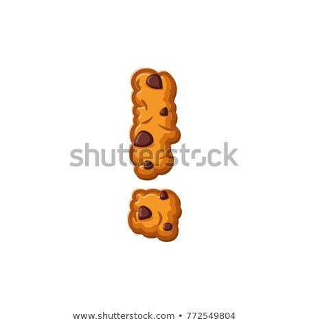 exclamation mark letter cookies. Cookie font. Oatmeal biscuit al Stock photo © popaukropa