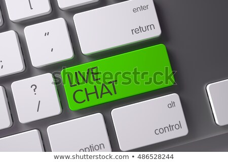 Keyboard with Green Button - Live Chat. 3D. Stock photo © tashatuvango