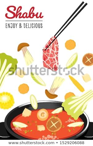 牛肉 · スライス · 調理済みの · 白 · 食品 · 背景 - ストックフォト © devon