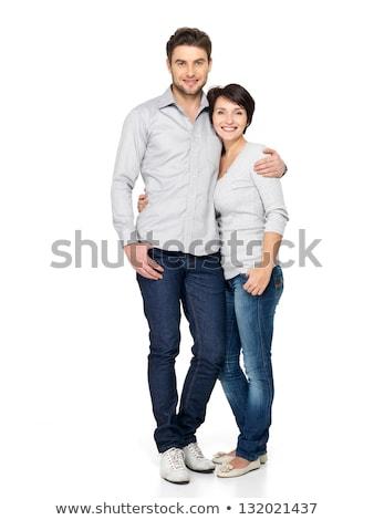 Mutlu seven çift ayakta yalıtılmış resim Stok fotoğraf © deandrobot