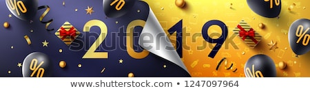 black paper banner discount balloons stock photo © limbi007