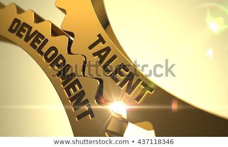 Knowledge Management Concept. Golden Metallic Cogwheels. Stock photo © tashatuvango