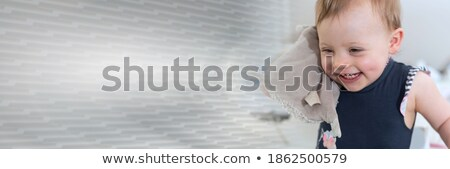 Girl with Cuddly Banner Stock photo © FOTOYOU