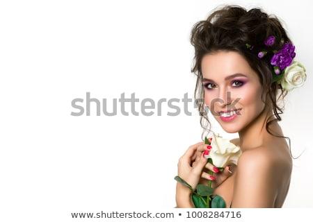 笑顔の女性 ポーズ クローブ 花 肖像 ショット ストックフォト © LightFieldStudios