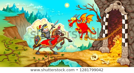 Funny dragons in a fantasy landscape with castle Stock photo © ddraw