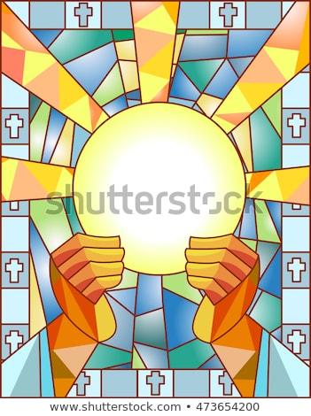 Vidrieras comunión ilustración ventana pan paloma Foto stock © lenm