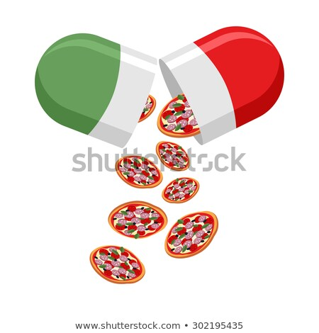 Italian national pill. Medicine patriotic. From the pills fall o Stock photo © popaukropa