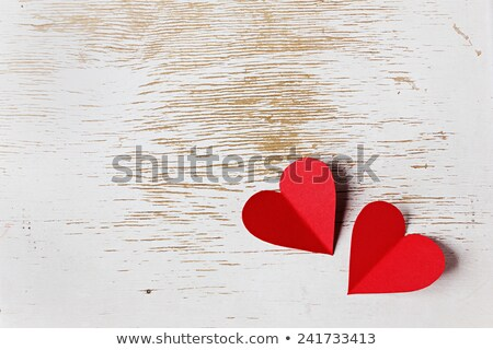 Stock photo: Red wooden heart shape, greetings card
