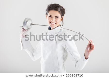 девушки ограждение костюм весело улыбаясь Сток-фото © IS2