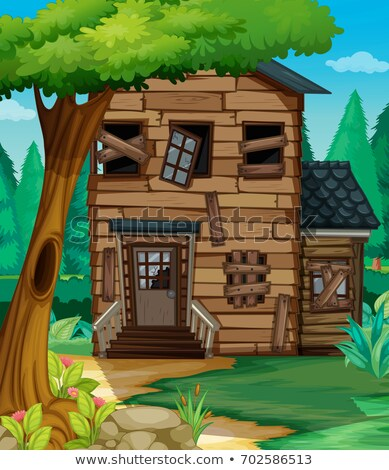 Fából készült ház rossz állapot dzsungel illusztráció Stock fotó © colematt