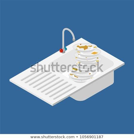 vuile · gerechten · tafelgerei · vector · metaal - stockfoto © popaukropa