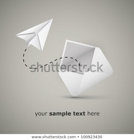 papieru · origami · płaszczyzny · latać · w · górę · szary - zdjęcia stock © romvo