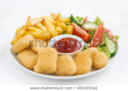 nugget, french fries and salad Stock photo © M-studio