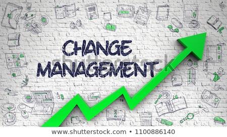 change management drawn on white brickwall stock photo © tashatuvango