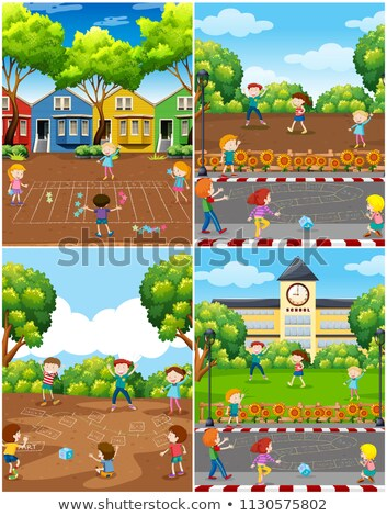 Ninos jugar matemáticas juego parque ilustración Foto stock © bluering