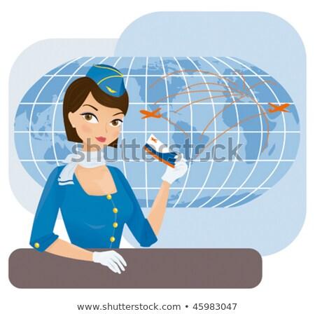 Cabina azul trabajo ordenador mujer sonrisa Foto stock © toyotoyo