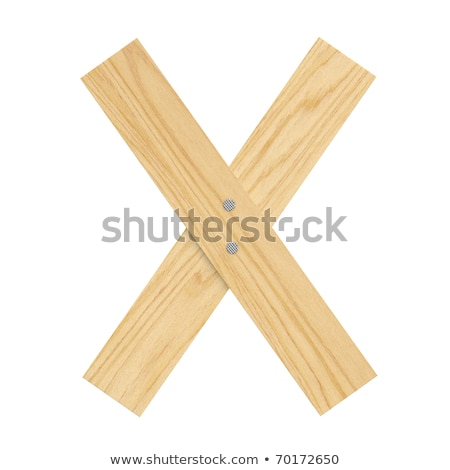 letter X wood board font. plank and nails alphabet. Lettering of Stock photo © popaukropa