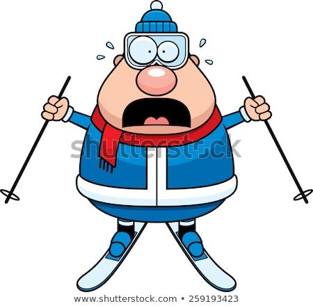 Paura cartoon sciatore illustrazione sci donna Foto d'archivio © cthoman