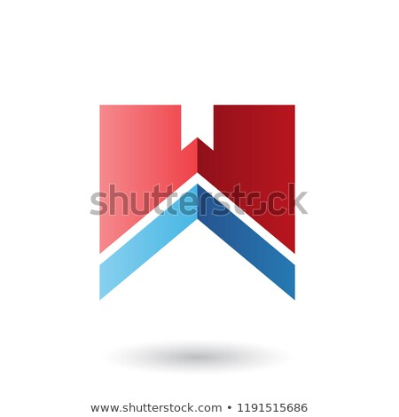 Czerwony niebieski list w naszywka wektora ilustracja Zdjęcia stock © cidepix