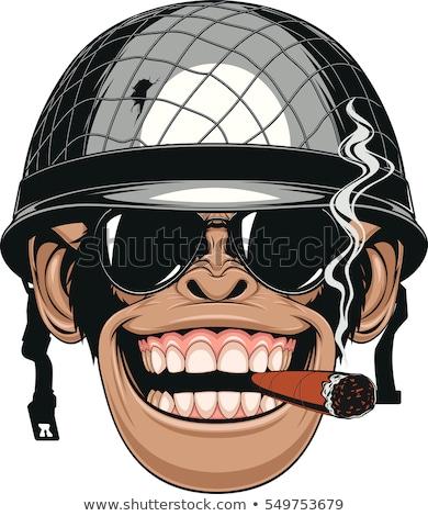 Cartoon улыбаясь солдата шимпанзе счастливым Сток-фото © cthoman