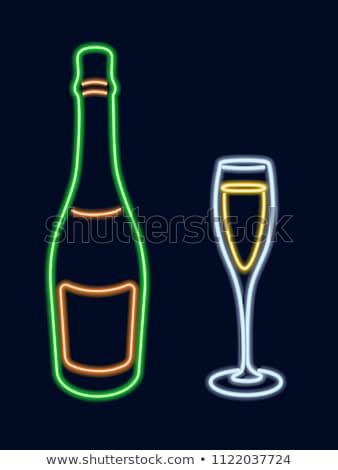 şampanya şişe cam neon alkol tanıtım Stok fotoğraf © Anna_leni