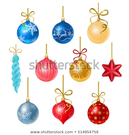 christmas tree decoration ball on a blue background and the words merry christmas sample of the pos stock photo © lady-luck