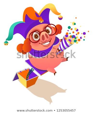 April 1 fools day pig clown surprise flapper Stock photo © orensila