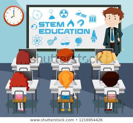 Stengel onderwijs klas scène illustratie klok Stockfoto © bluering