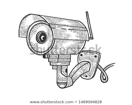 Wideo inwigilacja kamery cctv plakat nowoczesne Zdjęcia stock © Ecelop