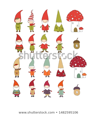 Set of funny gnome isolated on a white background. Sketch of Christmas festive poster, party invitat Stock photo © Lady-Luck