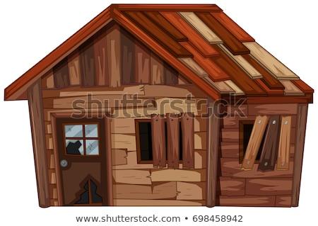 Fából készült ház állapot illusztráció épület terv Stock fotó © colematt