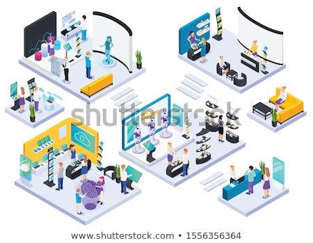 Moderne technologie tentoonstelling hal laptops Stockfoto © robuart