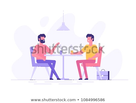 happy male office worker drinking coffee Stock photo © dolgachov