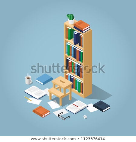bookshelf vector home library or book store bookcase full of different color books isolated flat stock photo © pikepicture