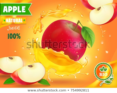 Glass of fresh organic apple juice with red and green apples in vintage box on wooden background  Stock photo © DenisMArt