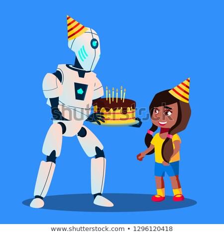 Robot torta di compleanno mani celebrazione vettore isolato Foto d'archivio © pikepicture