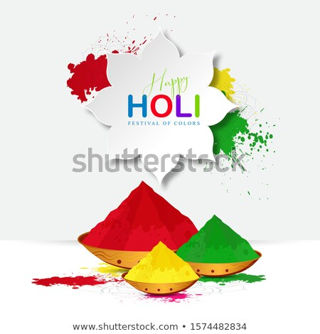 happy holi celebration with coloful gulal (powder color) bowl Stock photo © SArts