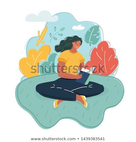 Stock fotó: Lány · olvas · könyv · zöld · illusztráció · gyermek