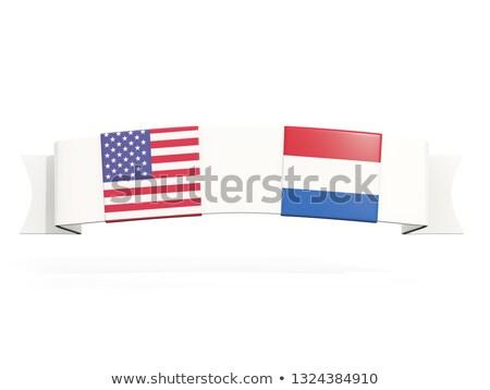 Banner twee vierkante vlaggen Verenigde Staten Nederland Stockfoto © MikhailMishchenko
