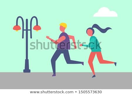 şehir · çalışma · çift · jogging · dışında · İkincisi - stok fotoğraf © robuart