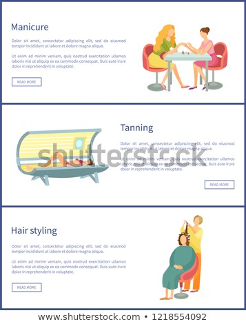 Manicure and Tanning Process Posters Set Vector Stock photo © robuart