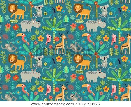 Conjunto zebra natureza quadro ilustração folha Foto stock © bluering