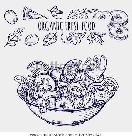 csirkemell · zöldség · gyümölcs · étel · háttér · asztal - stock fotó © grafvision