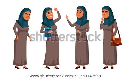 arab muslim teen girl poses set vector positive office manager person for postcard cover placar stock photo © pikepicture