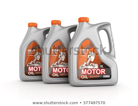 three plastic canisters motor oil on white background. Isolated  Stock photo © ISerg