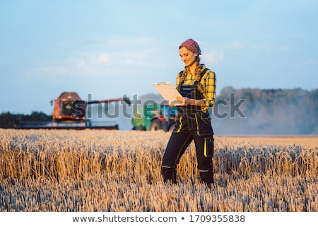 Farmer woman with clipboard on field, harvest going on Stockfoto © Kzenon