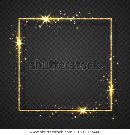 Gold shiny glitter glowing vintage frame with lights effects. Shining ellipse banner on black transp Stock photo © olehsvetiukha
