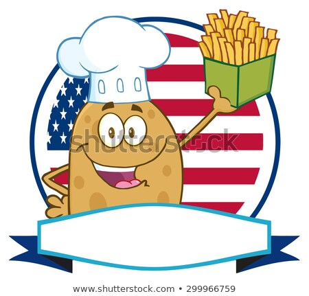 Chef aardappel cirkel banner vlag Stockfoto © hittoon