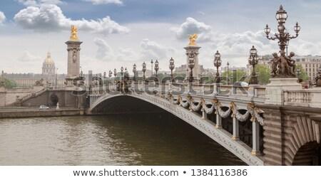 Stok fotoğraf: Panorama · köprü · eski · şehir · bulutlu · gün